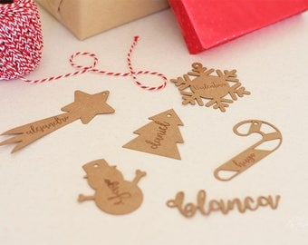 Tags christmas shapes personalized with the name