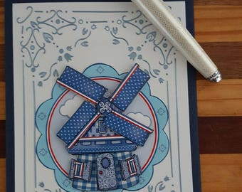 Blue windmill  card, Handmade, Card for all occasions