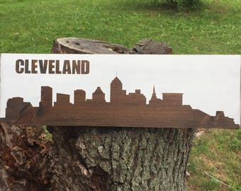 "Mini cleveland skyline 7""x24"" wood sign 
