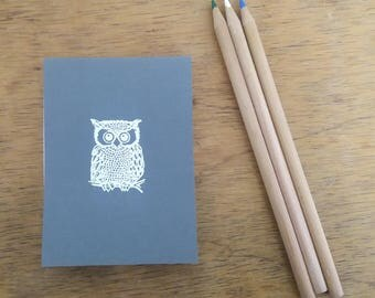 Small Owl Notepad - Charcoal