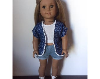 Blue Patterned Kimono made to fit 18 inch dolls such as American Girl dolls