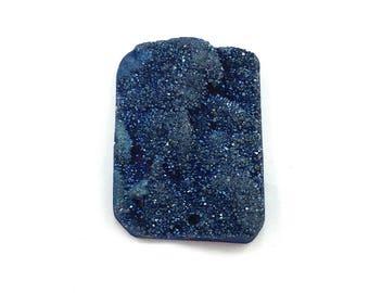 Blue titanium agate druzy rectangle focal bead pendant - itty bitty bead bus - statement beads chunky DIY jewelry shiny AB drusy denim