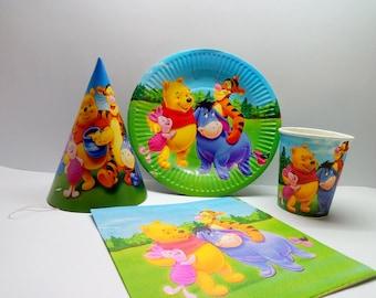 Winnie the Pooh paper tableware. Paper tableware for children's holiday. Set for children's holiday,party or birthday. Winnie the Pooh party