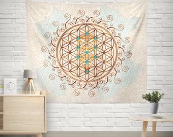 Tree of Life Wall Tapestry,Mandala Tapestry,Sacred Symbol Tapestry,Boho Chic Wall Tapestry,Bohemian Wall Tapestry,Sephirot Mandala Tapestry