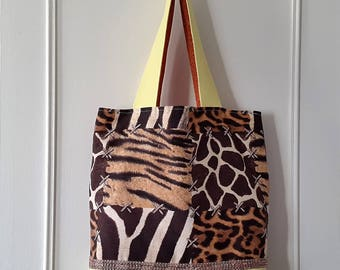 Large fabric and faux leather tote