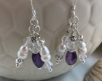 Amethyst Freshwater Pearl  Crystal Drop/Dangle Earrings with .925 Silver Wires