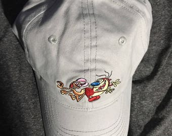 NewW/ TAgS REN & STIMPY NICKELODEOn LICENSED gray STRAPBACk Dad Hat 90'S Nick