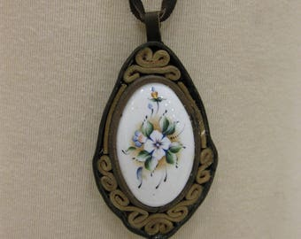 Unique Vintage Leather Necklace With Intricate Hand-Painted Floral Design