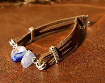 Iolite and Lapis Lazuli Bracelet in Suede. Natural Gemstone Bracelet, beaded Bracelet, crystal bracelet, Energy Healing, Crystal healing.