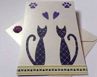 Handmade Cat Greeting Card - Birthday - Anniversary - Thank you - Congratulations - Blank Greeting Card - Greeting Card - Cat Greeting Card
