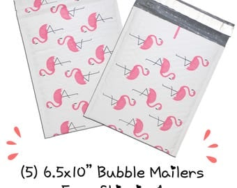 "FREE SHIPPING! (5) 6.5x10"" Pink Flamingo Designer Bubble Mailers"