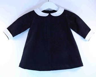 Black baby dress with Peter Pan collar / / corduroy