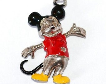 RARE Vintage Mickey Mouse Sterling Silver Enamel Charm Walt Disney Productions