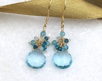 Aquamarine and Gold Drop Earrings | Drop Earrings | Cluster Earrings | Aquamarine Earrings | Gemstone Earrings | Gift For Her