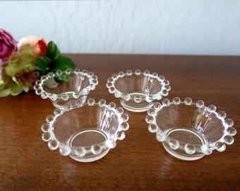 Imperial Candlewick glass salt dish Set of 4 Salt cellars Nut dish Salt dip dish Vintage Imperial Glass glassware Vintage glass tableware