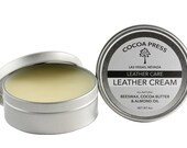 Cocoa Press Leather Cream // All Natural // Cosmetic Grade // Conditioner // almond Oil // Leather Balm // For All Smooth Finished Leather