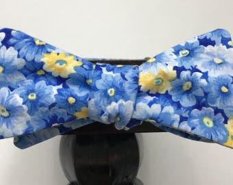 Floral Men's bow tie, self-tie handmade and adjustable from upcycled and repurposed material  // spring blossom // ReTied