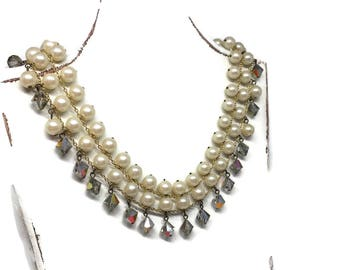 Choker Faux Pearl and Aurora Borealis Bridal Necklace Made in Japan