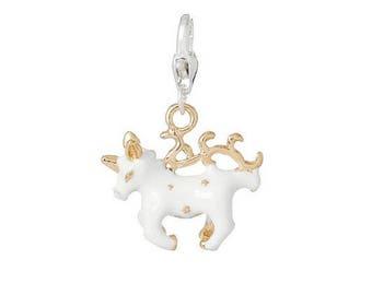 horse Unicorn (C60) white gold enamel charm
