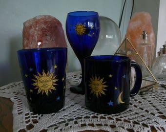 Libbey Cobalt Celestial Mug Wine Glass Water Tumbler