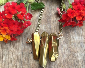 Gold Luster Nugget Stone Bar Necklace