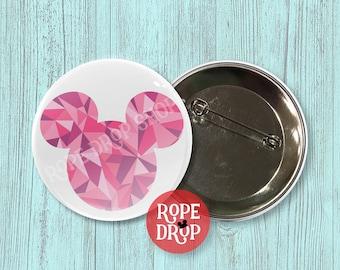 "Pink Geometric Mickey Mouse Icon - Disney Button - 2.25"""