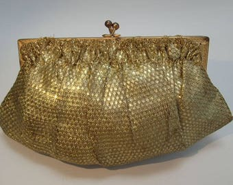 French Antique 1920's Flapper Gold Lame Handbag Clutch Purse Vintage Wedding