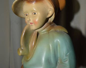 """1930s Statue Boy with pipe- """"Like Pa"""" chalkware"""