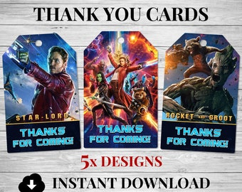 5x Guardians of the Galaxy Thank You Cards, Guardians of the Galaxy Party Favour Tags, Guardians of the Galaxy Invitation, Groot, Star Lord