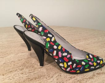 Vintage CASADIE Multicolored Slingback Pumps, Ultra High Quality All Leather, 37.5