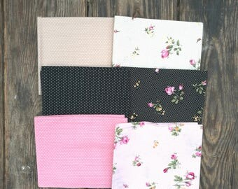 floral fabric fat quarters, craft cotton fat quarter, 100% cotton fabric, fabric bundle, fabric remnant, patchwork fabric, crafting fabric