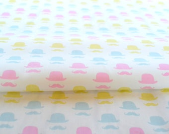 Moustache fabric, mustache fabric, Bowler hat fabric, cute mustache fabric, geekly chic, retro mustache fabric, fun fabric, sale fabric