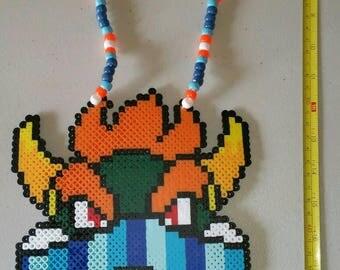 Bowser perler necklace