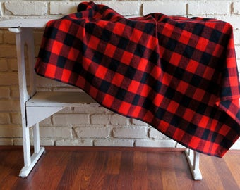 Buffalo Check Flannel Baby Blanket - Red and Black Plaid Flannel Blanket - Receiving Blanket - Nursing Blanket - Baby Shower Gift under 20
