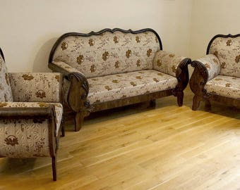 Vintage retro suite, Sofa, armachair, Loveseat, Flower patterned material. Wooden structure.