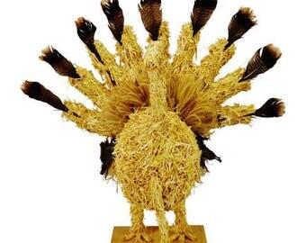 Vintage Folk Art Thanksgiving Straw Turkey Centerpiece Decoration 40 x 38
