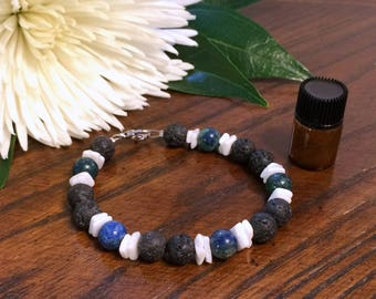 Diffuser Bracelet & Oil - Lava Bead and Gemstone