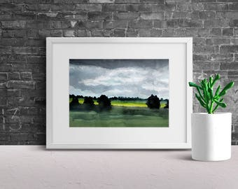 Stormy afternoon – Watercolor Print – Instant Download, Meadow Watercolor, Clouds Watercolor