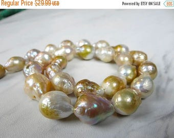 59% End of Summer Sale-- Creamy Beige, mauve and gold baroque freshwater pearls/13x10-17x11mm/7.5 inch strand