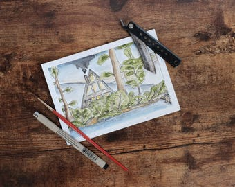 A-Frame in the Woods Original Watercolor on Canson Postcard Paper