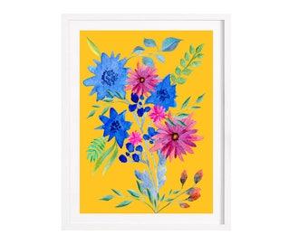 Flower print, living room decor, art Illustration digital print 21 x 27.9 cm / A4