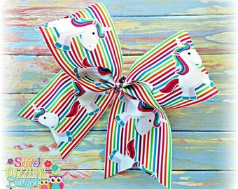 Colorful Striped Unicorn Large Cheer Bow, Unicorn Bow, Magical Bow, Horse Bow, Pony Bow, Bright Bow, Cheer Bow, Big Bow