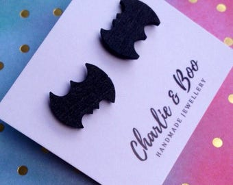 Black Bat Stud Earrings - Wooden Bat Earrings - Halloween Studs - Laser Cut Earrings - Bat
