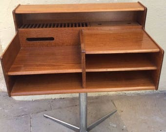 Rare vintage mid century walnut swivel console