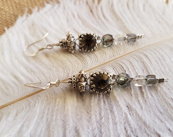 Black diamond Swarovski slider earrings