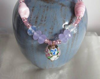 Pink and Blue Glass Beaded Bracelet with Glass Flower Charm