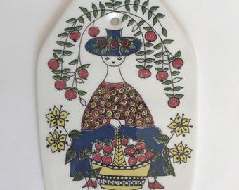 Scandinavian Pottery Ceramic Trivet   Woman with Apples   Figgjo Flint   Handpainted Trivet   Made in Norway   Mons og Mille   Turi Design