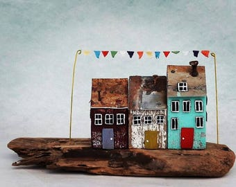 house miniature, wood house, tiny house, driftwood art, driftwood sculpture, reclaimed wood, rustic home decor, richidriftwoodart, wood art