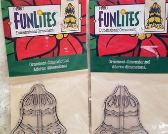 Suncatcher Christmas Ornament Kit, Vintage Plaid FunLites, Dimensional Ornament, Bell, Set of 2 Packages