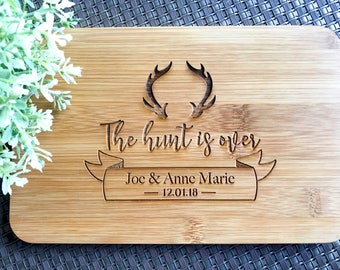 Personalized Engraved Mini Bamboo Serving Board | Chopping Board | Cheese Board - Wedding Gift, Gift for Bride and Groom - The Hunt Is Over